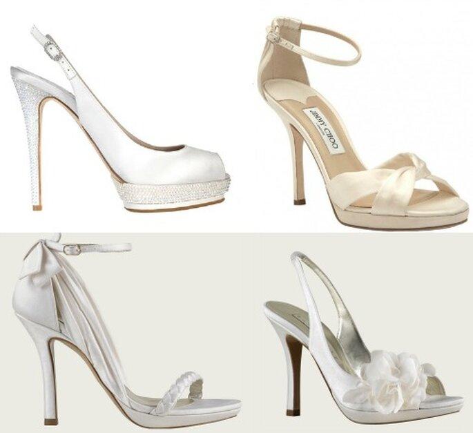 Il raso è uno dei tessuti più usati per le scarpe da sposa. Dall'alto a sinistra: Le Silla, Jimmy Choo, Pura Lopez