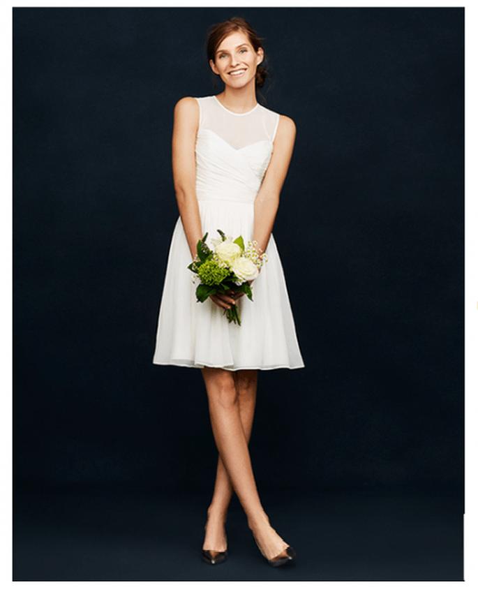 Vestido de novia corto sin mangas con cuello ilusión - Foto JCrew