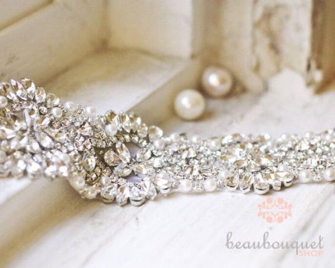 Cinturón de pedrería para vestidos de novia con perlas - Foto Etsy