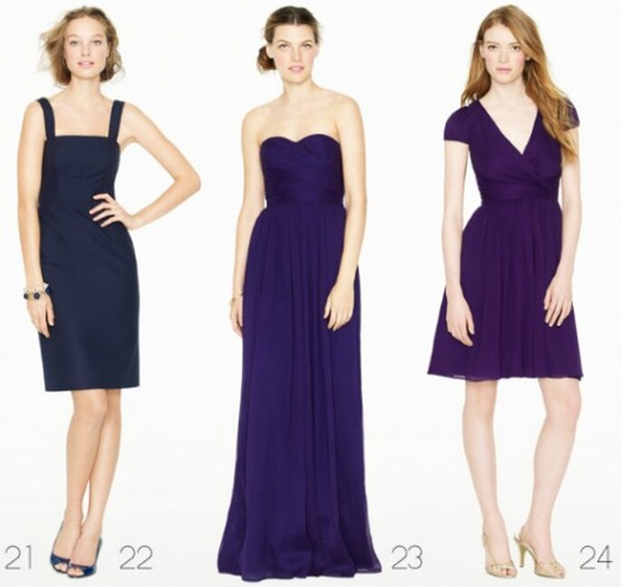 Vestidos para dama de boda en color morado - Foto: J.Crew Bridesmaid Collection