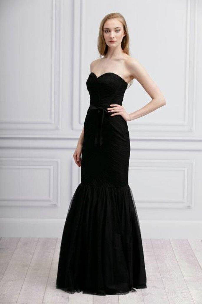 Vestido largo en color negro para damas de honor - Foto Monique Lhuillier Facebook