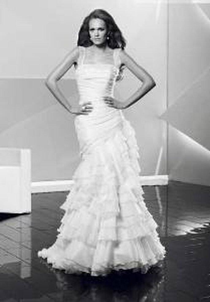 Vestido de novia - Pepe Botella - Vestido sirena, con volados, breteles rectos