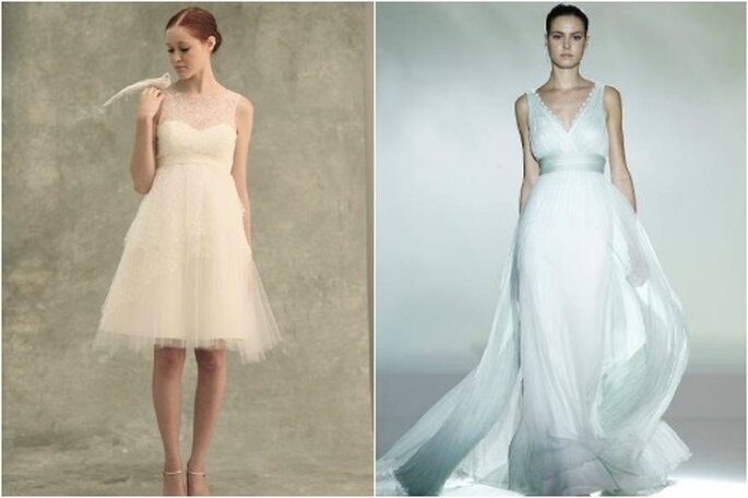 Foto: Jenny Yoo (sinistra) e Rosa Clará/Barcelona Bridal Week (destra)