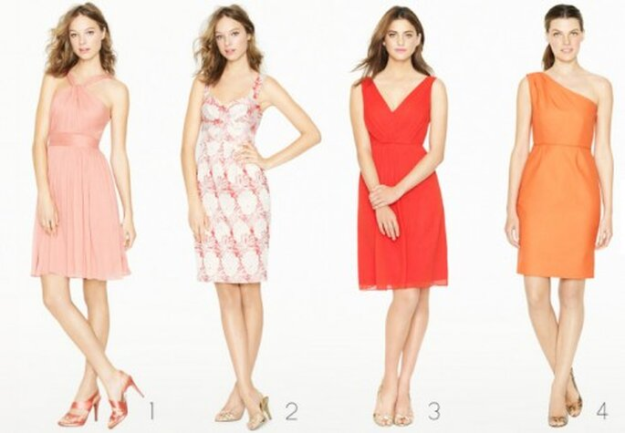 Vestidos cortos para damas de boda en color naranja - Foto: J.Crew Bridesmaid Collection
