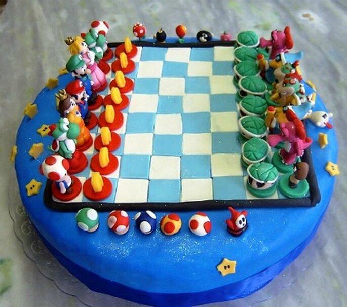 Gâteau échec Mario - Gamesandgeeks.com