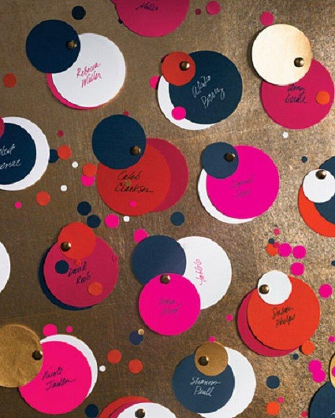 Confetti Escort Cards via Martha Stewart Weddings.