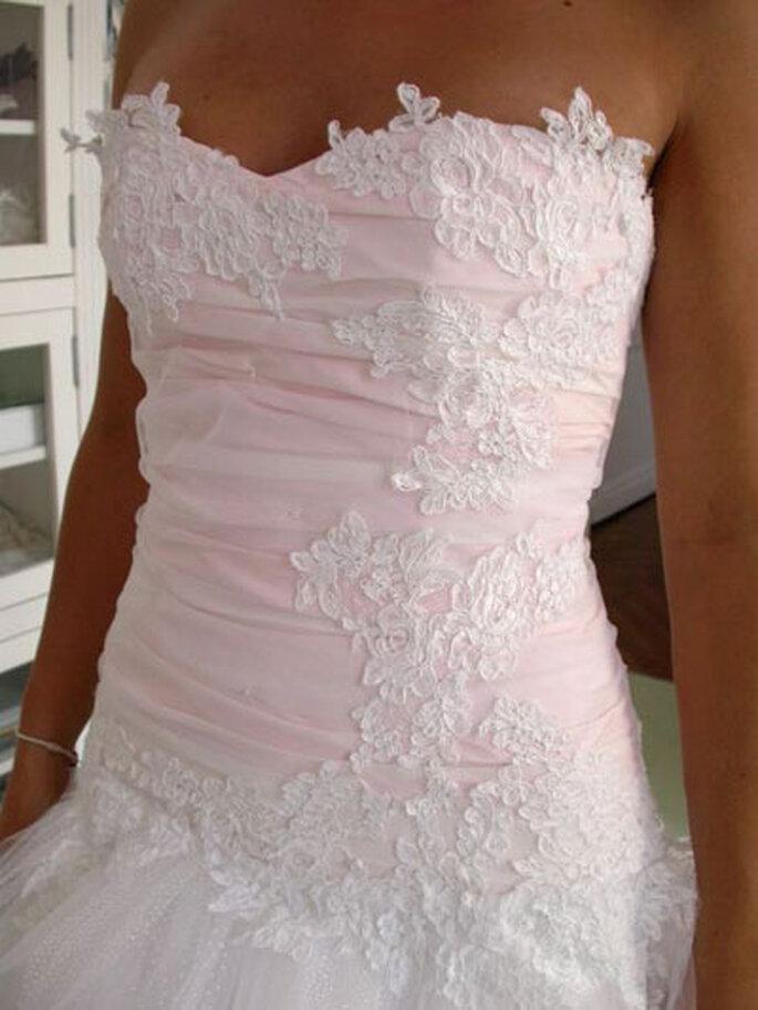 Robe de mariée Géraldine Lemonnier-Leblanc - Création sur-mesure, haut en taffetas rosé