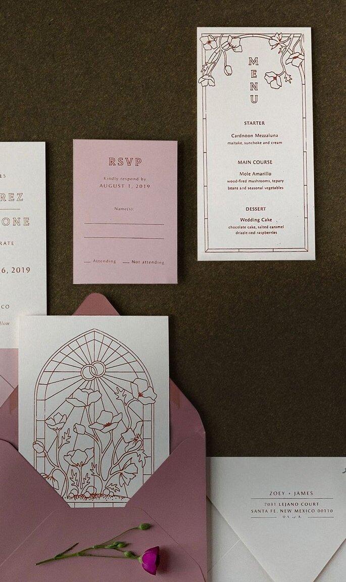 Hochzeitseinladungen Trends Boho Design mit Rahmen