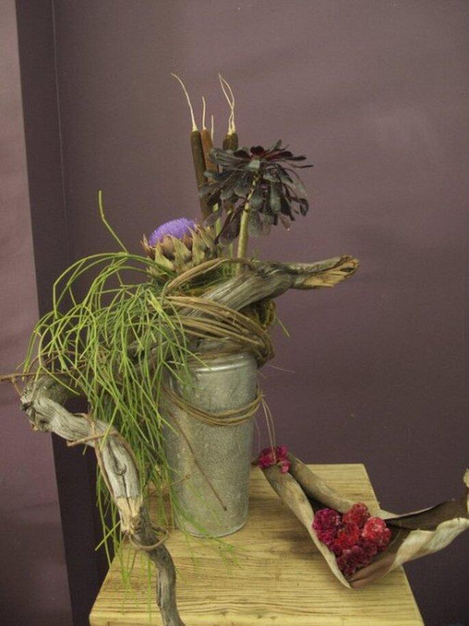 Centros de mesa para boda con objetos reciclados. Fotografía Arquitectura floral