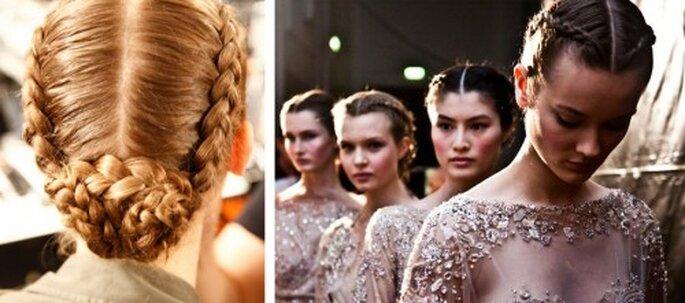 Peinado para novias con trenza en 2013 - Foto Facebook oficial de MAC Cosmetics y Elie Saab