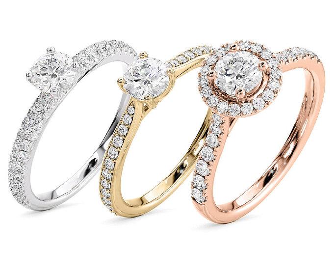 Bagues de fiançailles or blanc, or jaune, or rose et diamants