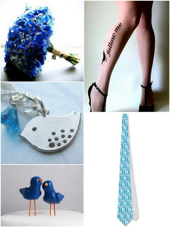 Bouquet ed accessori per Twitter-addicted Foto: tatuaggio Socks (Etsy.com), bracciale by WaveCloud (Etsy.com), cravatta by Zazzle.com