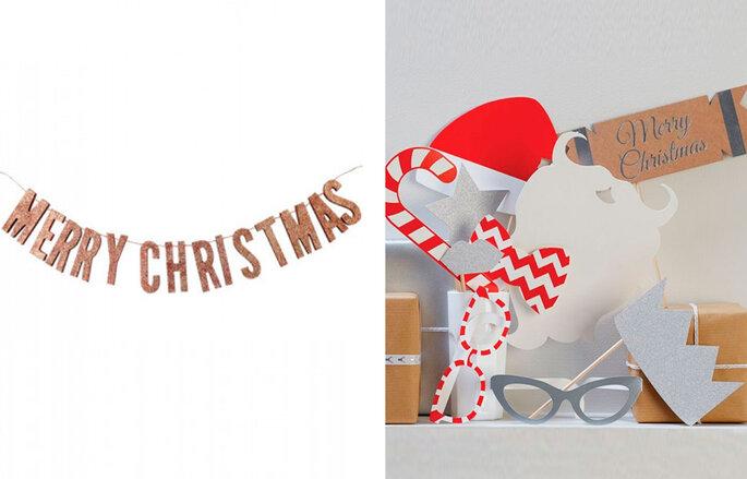 "Letrero dorado ""Merry Christmas"" y Photocall navideño"