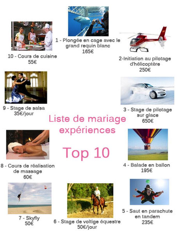Top 10 de la liste de mariage expériences