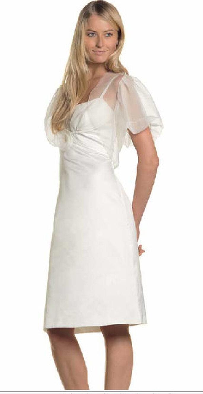 Isabel, abito sottoveste bianco latte con corpetto in chiffon e bolerino in chiffon
