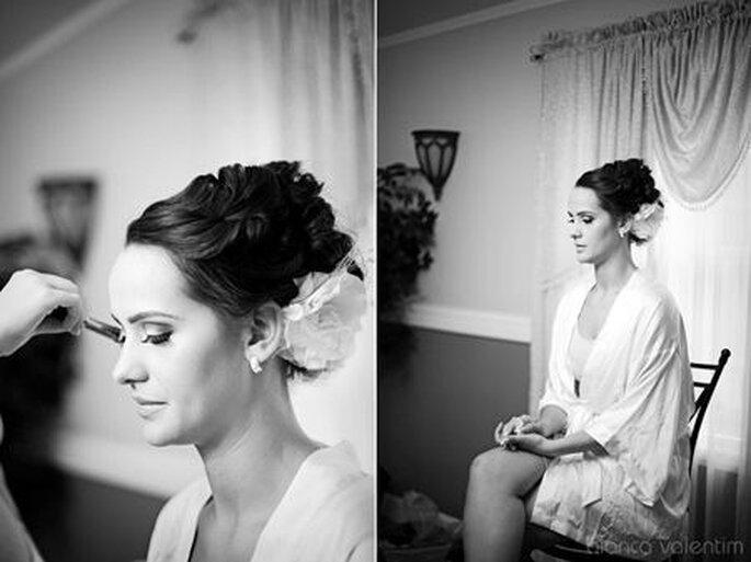 Peinado recogido a la nuca, ideal para cuellos largos y delgados. Foto: Bianca Valentim