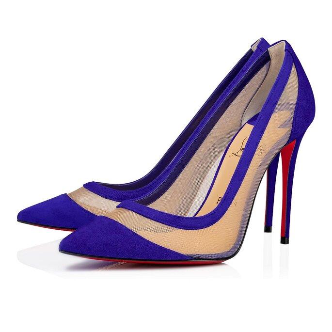 Zapatos de novia stilettos en azul con malla