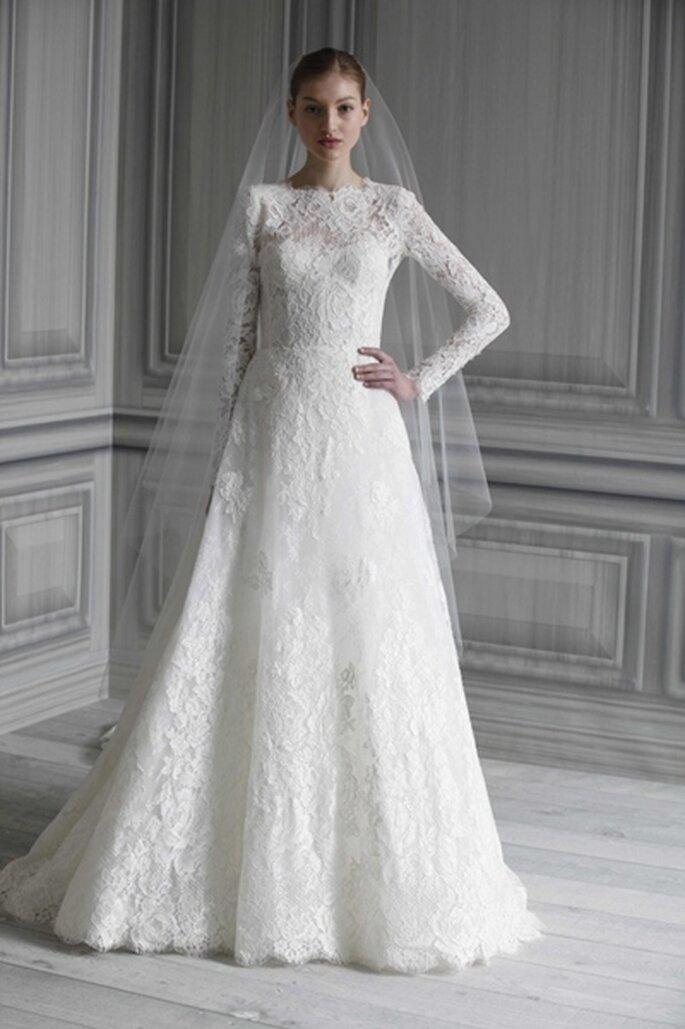 Hochzeitskleid mit eng anliegenden Ärmeln - Model Catherine von Monique-Lhuillier