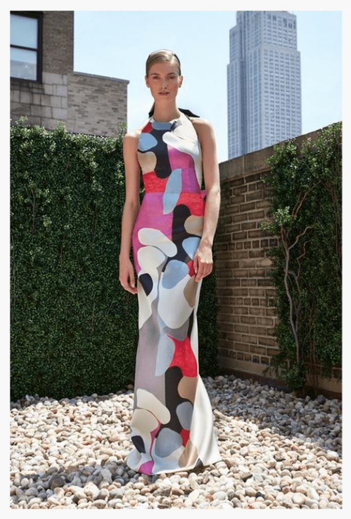 Vestido de fiesta 2014 con tendencia de estampados gráficos - Foto Carolina Herrera