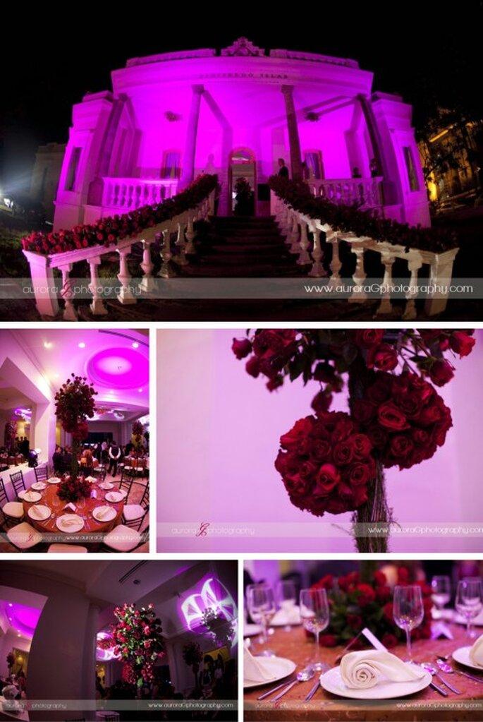 Tendencia en centros de mesa altos para boda. Fotografía Aurora Photography