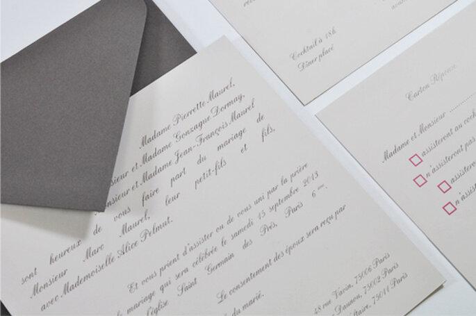 faire part de mariage inspiration taupe rose et gr ge pour l art du papier. Black Bedroom Furniture Sets. Home Design Ideas
