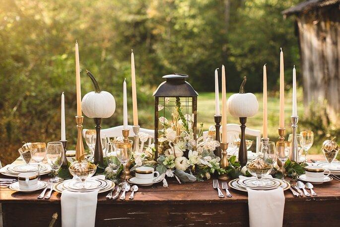 Kürbis Dekoration Hochzeit Tisch