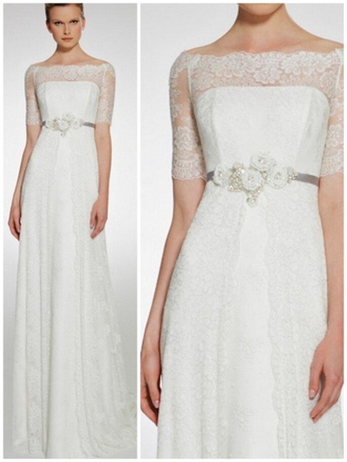 Vestido de novia corte imperio con encaje. Patricia Avedaño