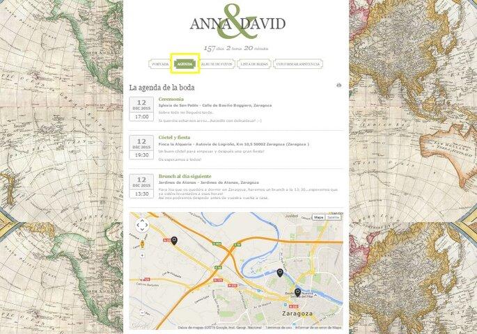 agenda y mapa