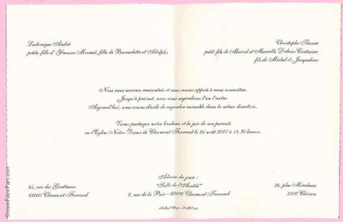 Célèbre Faire part traditionnel mariage - Modèle de lettre RT46