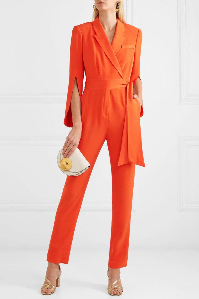 Enterizo en naranja con lazo lateral y manga francesa