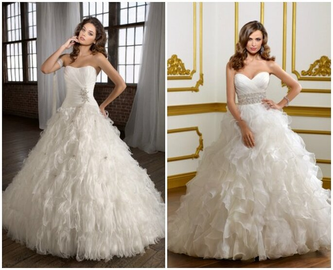 Due modelli con gonna vaporosa e scollatura a cuore. Mori Lee 2013 Bridal Collection. Foto: www.morilee.com