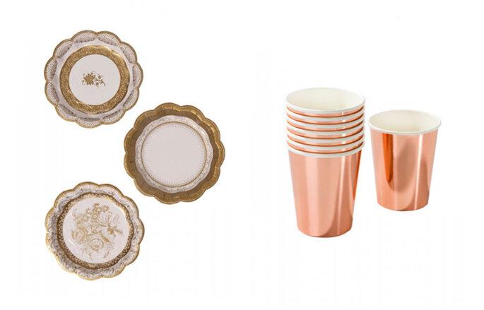 Platos oro efecto porcelana y vasos rosas