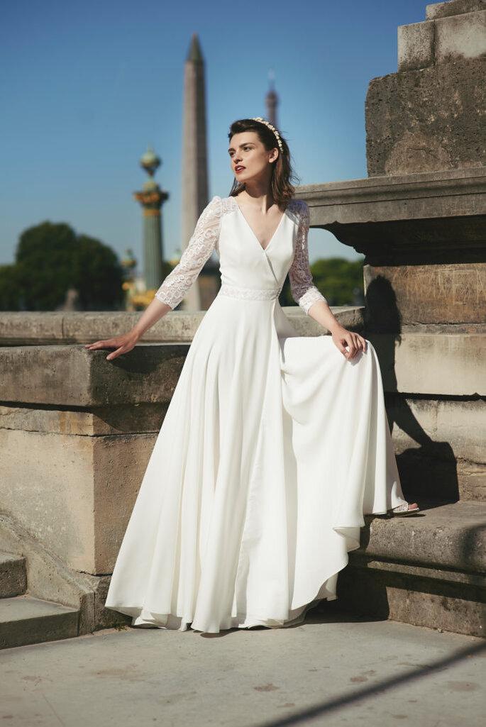 Robe de mariée bohème avec des manches pour un mariage civil