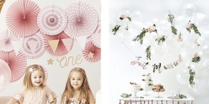 Rosettes décoratives à motifs roses en 3 pièces et Arc de ballons blancs 70 pièces