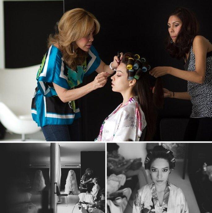 Irma en sesión de peinado y maquillaje para la boda - Foto Pepe Orellana