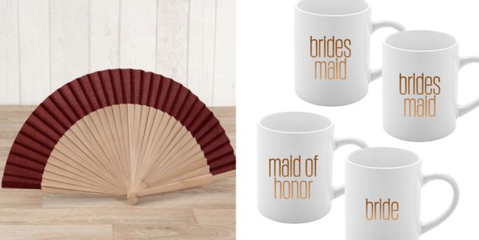 Eventail en tissu et bois bordeaux et Tasse team bride 4 pièces