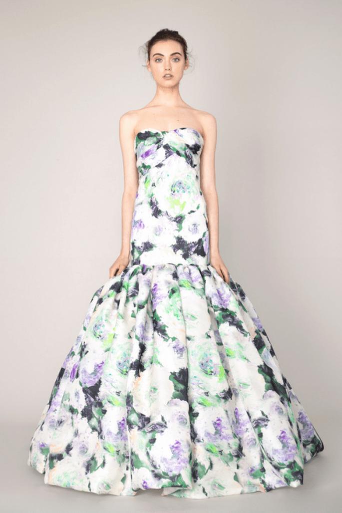 Vestido de fiesta 2014 con motivos florales - Foto Marchesa