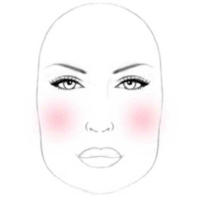 Visage carré : on applique du blush verticalement le long du contour du visage - Source photo : P. Matias