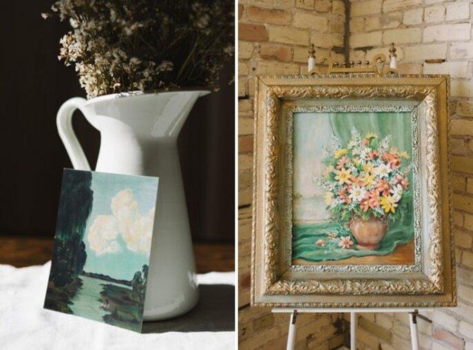 Coloca pinturas avejentadas en sitios estratégicos del banquete - Foto T&S Hughes Photography