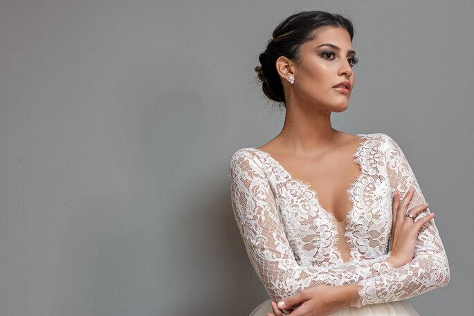 vestido de noiva decotado