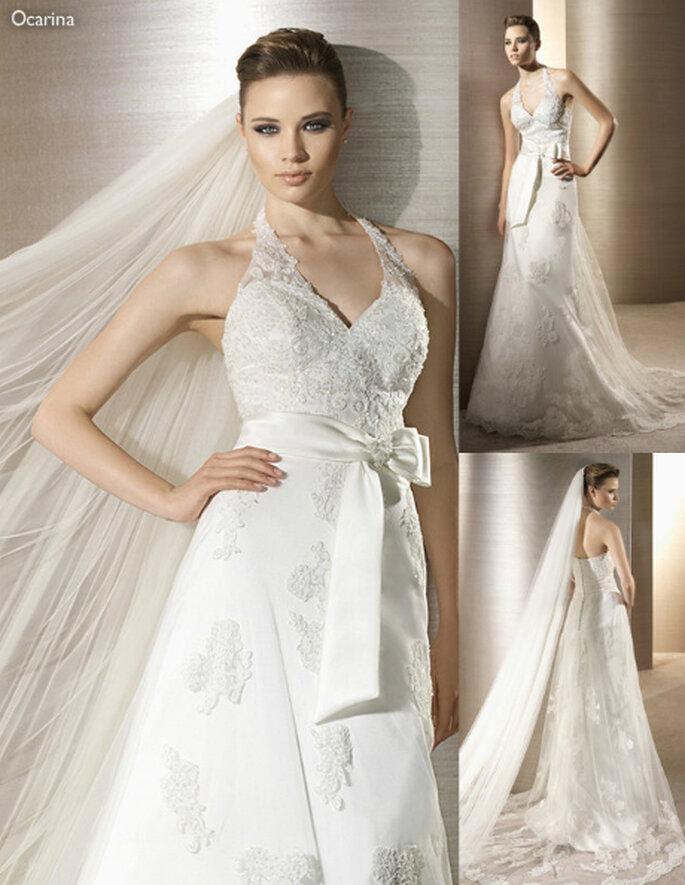 Vestido de novia con encaje y un moño en la cintura - Foto: Atelier Diagonal