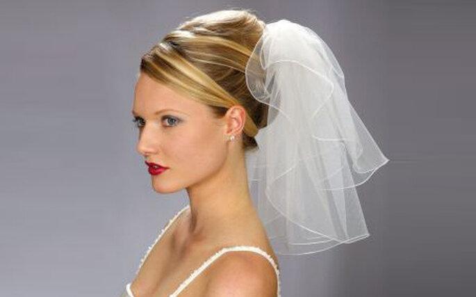 Mini voile de mariée blanc, voile simple avec bord plat