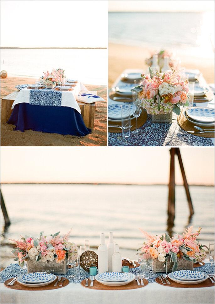Mustermix in Blautönen für Ihre Hochzeit am Strand - Foto White Loft Studio