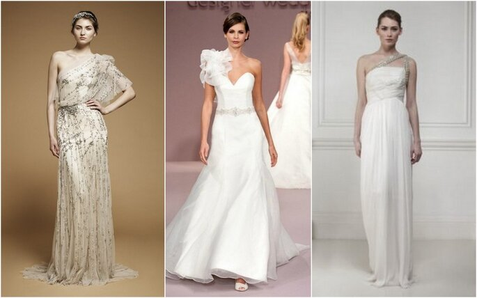 Vestidos de novia de un solo hombro. Fotos: Jenny Packham, Ritva-Heavenly y Matthew Williamson