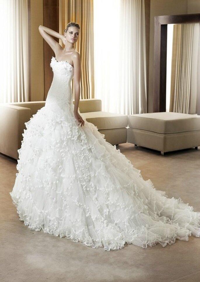 Vestido de noiva com tule da coleção Pronovias 2012 foto: divulgação