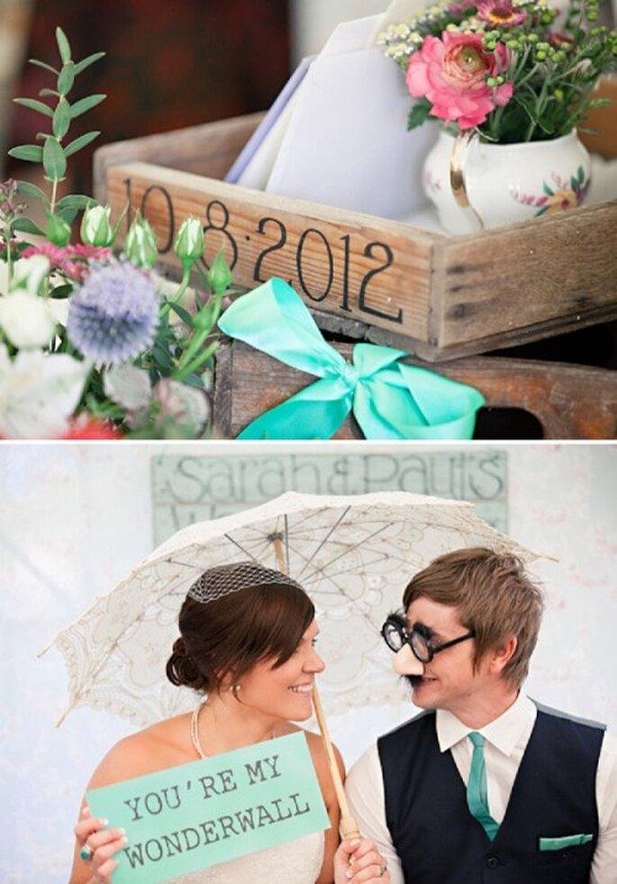 Dale un toque romántico a tu boda con una decoración en color menta - Foto HBA Photography