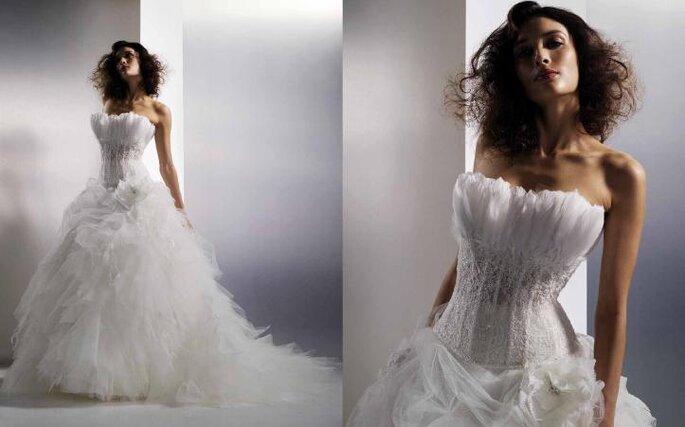 Robe de mariée acajou, en tulle et dentelle