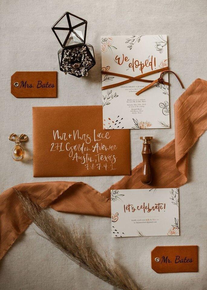 Hochzeitseinladungen trends Boho Design mit Leder