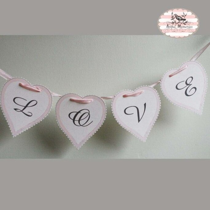 Love paper garland by Etsy seller ArtfulMstudio