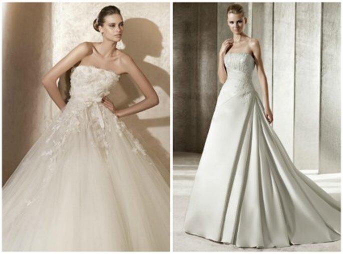 Dos de los vestidos de novias de las 7 colecciones de Pronovias para